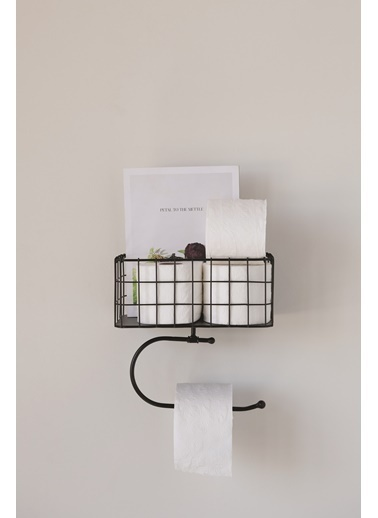 Warm Design Metal Tuvalet Kağıt Tutacağı Siyah
